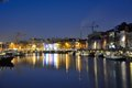 One of the beautiful pleasure harbours in ghent belgium january at nightfall Royalty Free Stock Photo