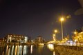 One of the beautiful pleasure harbours in ghent belgium january at nightfall Stock Photo