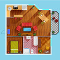 One Bedroom Apartment Floor Plan Royalty Free Stock Photo