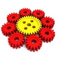 One big gear and eight small gears Stock Photo