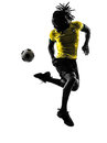 One black brazilian soccer football player man silhouette in studio on white background Stock Images