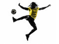 One black brazilian soccer football player man silhouette in studio on white background Stock Photography