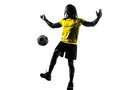 One black brazilian soccer football player man silhouette in studio on white background Stock Photos