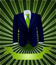 One blue costume tie made green leaves dark green background banner Stock Photo