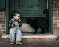 One boy and a cat Royalty Free Stock Photo