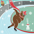 One brown bear is sprinter skating humorous illustration runs sprint at the stadium Royalty Free Stock Photography