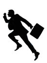 One business man jumping running silhouette Stock Photography