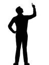One business man poiting up happy silhouette Royalty Free Stock Images