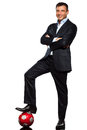 One business man standing  foot on soccer ball Royalty Free Stock Photo