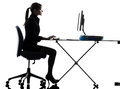 One business woman computer computing typing silhouette studio white background Stock Images