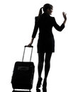 One business woman traveler saluting rear view silhouette studio white background Royalty Free Stock Photography