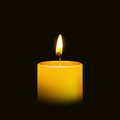 One candle flame at night closeup - isolated Royalty Free Stock Photo