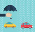 One car under protection by umbrella, another - without insurance Royalty Free Stock Photo