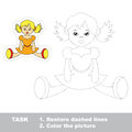 One cartoon doll to be traced restore dashed line and color picture trace game for children Stock Photos