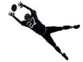 One caucasian american football player man catching receiving silhouette studio isolated white background Stock Images
