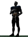 American football player man hand on heart silhouette Royalty Free Stock Photo