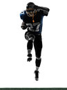 One caucasian american football player man running silhouette studio isolated white background Royalty Free Stock Photo