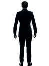 One caucasian business man hands pocket silhouette studio white background Stock Photo
