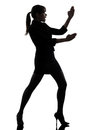 One caucasian business woman karate self defense silhouette studio white background Royalty Free Stock Photo