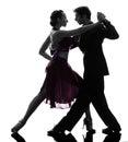 Couple man woman ballroom dancers tangoing  silhouette Royalty Free Stock Photo