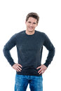 Mature handsome man hands on hips Royalty Free Stock Photo