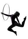 Rhythmic Gymnastics with hula hoop woman silhouette Royalty Free Stock Photo