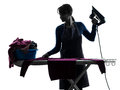 Woman maid housework ironing silhouette Royalty Free Stock Photo