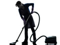 Woman maid housework Vacuum Cleaner silhouette Royalty Free Stock Photo