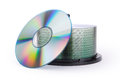 One cd and disks pile Stock Images