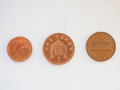 One cent coins euro british penny and dollar Royalty Free Stock Photography