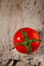 One chryy tomatoe on wooden background Stock Images