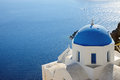 One churches blue roof oia santorini Stock Photo