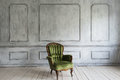 One classic armchair against a white wall and floor. Copy space Royalty Free Stock Photo
