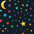 One crescent many star seamless pattern