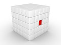 One cube is pressed inwards d inside of object made of cubes Stock Image