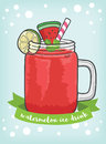 One cup watermelon ice drink vector and cliparts