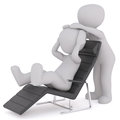 One 3D illustrated figure reclines in long chair Royalty Free Stock Photo