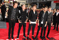 One direction arriving for the this is us world premiere at the empire leicester square london picture by steve vas Royalty Free Stock Photography
