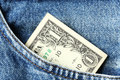 One dollar banknote close up us in blue jeans pocket Stock Photography