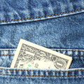 One dollar banknote close up us in blue jeans pocket Stock Photo