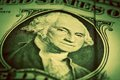 One dollar bill close up focus on george washington eyes selective usd american the united states currency money concept Royalty Free Stock Photography