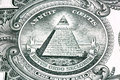 One dollar bill detail pyramid macro image Stock Photos