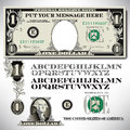 One dollar bill parts with an alphabet