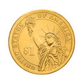 One dollar coin statue of liberty isolated on white background Royalty Free Stock Images