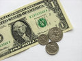 One dollar and coins, money, currency of USA, macro mode Royalty Free Stock Photo