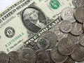 One dollar and coins, money, currency of USA, super macro mode Royalty Free Stock Photo