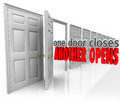 One door closes another opens new opportunity success from failu words in d letters in a motivational or inspirational saying or Royalty Free Stock Photography