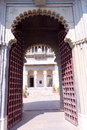 One of the entrance of city palace udaipur is architectural marvels rajasthan located peacefully on banks lake pichola this Stock Photography