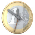 One euro coin clock made of d rendering on white background Stock Images