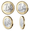 One euro coin four coins photographed at different angles with similar lighting Royalty Free Stock Photography